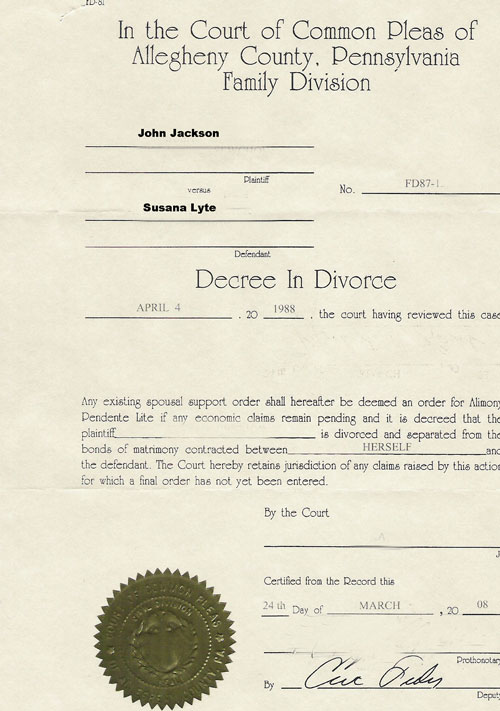 Divorce Certificate Example  Example Of Divorce Decree